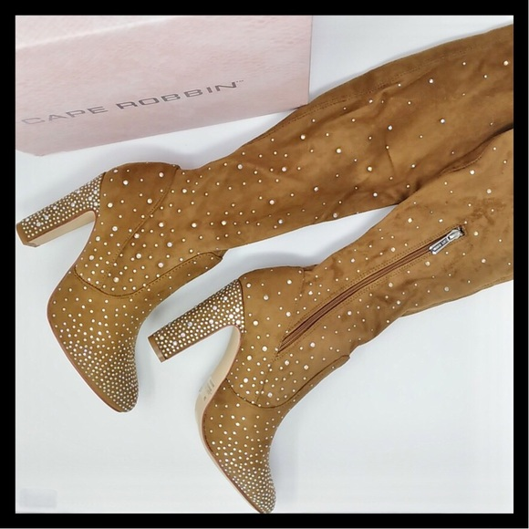 38a3952a09d CAPE ROBBIN Rhinestone Thigh High Boots Soft Suede